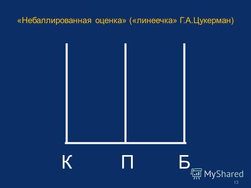 «Небаллированная оценка» («линеечка» Г.А.Цукерман) КПБ 13