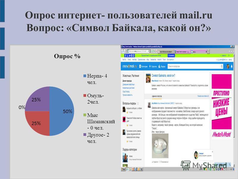 Опрос интернет- пользователей mail.ru Вопрос: «Символ Байкала, какой он?»