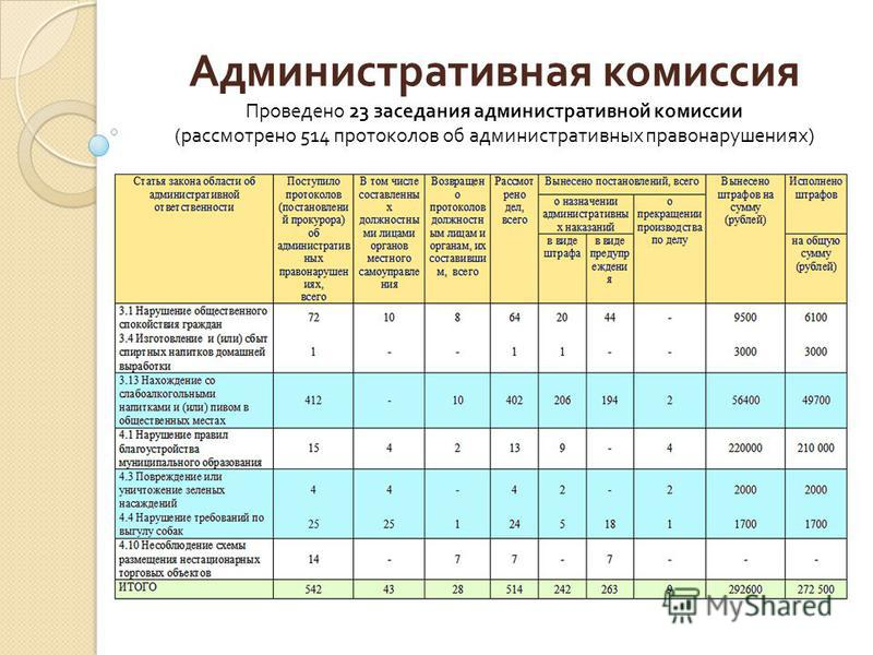 Административная комиссия Проведено 23 заседания административной комиссии ( рассмотрено 514 протоколов об административных правонарушениях )