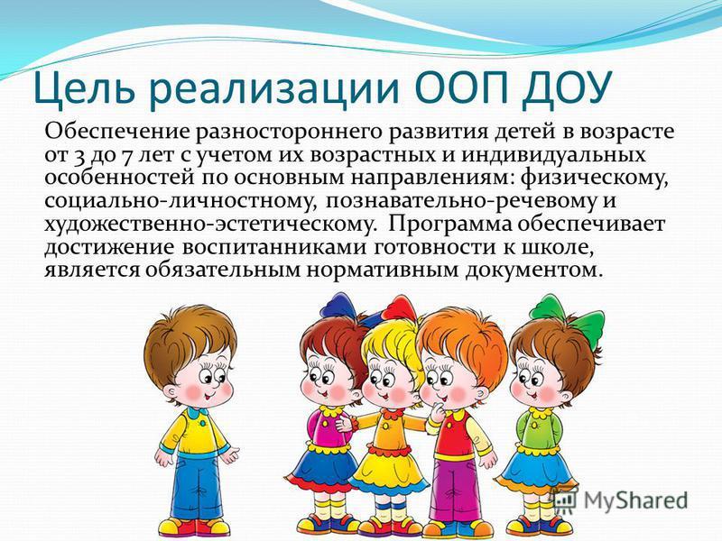 Цель реализации ООП ДОУ Обеспечение разностороннего развития детей в возрасте от 3 до 7 лет с учетом их возрастных и индивидуальных особенностей по основным направлениям: физическому, социально-личностному, познавательно-речевому и художественно-эсте