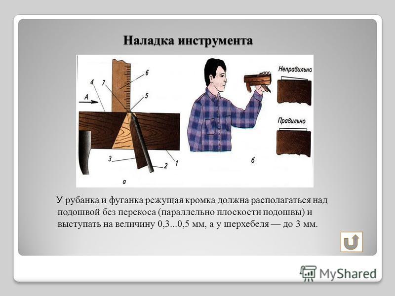 Наладка инструмента У рубанка и фуганка режущая кромка должна располагаться над подошвой без перекоса (параллельно плоскости подошвы) и выступать на величину 0,3...0,5 мм, а у шерхебеля до 3 мм.