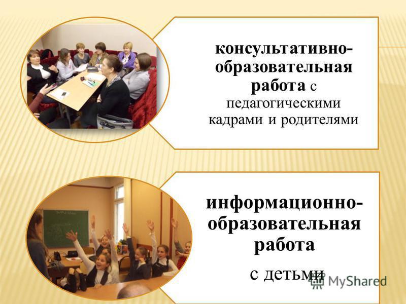 консультативно- образовательная работа с педагогическими кадрами и родителями информационно- образовательная работа с детьми