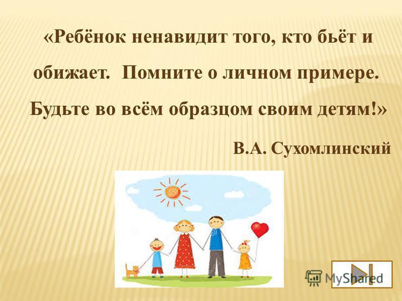 «Ребёнок ненавидит того, кто бьёт и обижает. Помните о личном примере. Будьте во всём образцом своим детям!» В.А. Сухомлинский