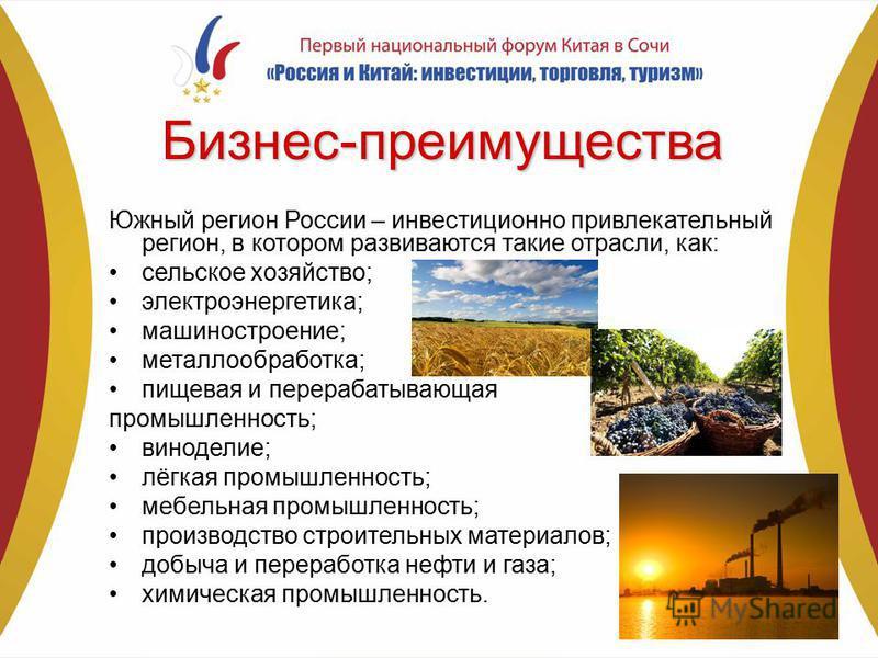 Бизнес-преимущества Южный регион России – инвестиционно привлекательный регион, в котором развиваются такие отрасли, как: сельское хозяйство; электроэнергетика; машиностроение; металлообработка; пищевая и перерабатывающая промышленность; виноделие; л