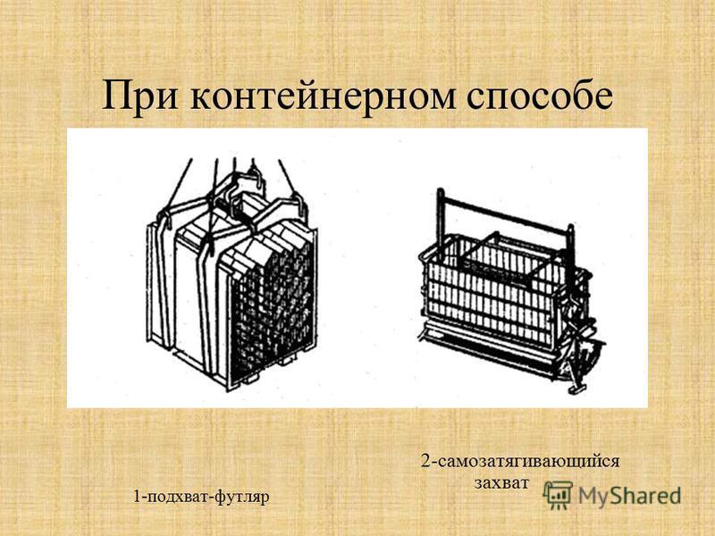 При контейнерном способе 1-подхват-футляр 2-самозатягивающийся захват