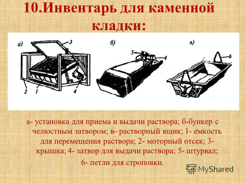 10. Инвентарь для каменной кладки: а- установка для приема и выдачи раствора; б-бункер с челюстным затвором; в- растворный ящик; 1- емкость для перемещения раствора; 2- моторный отсек; 3- крышка; 4- затвор для выдачи раствора; 5- штурвал; 6- петли дл