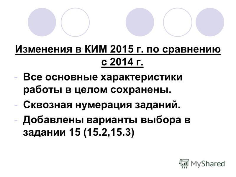 Изменения в КИМ 2015 г. по сравнению с 2014 г. -Все основные характеристики работы в целом сохранены. -Сквозная нумерация заданий. -Добавлены варианты выбора в задании 15 (15.2,15.3) 3