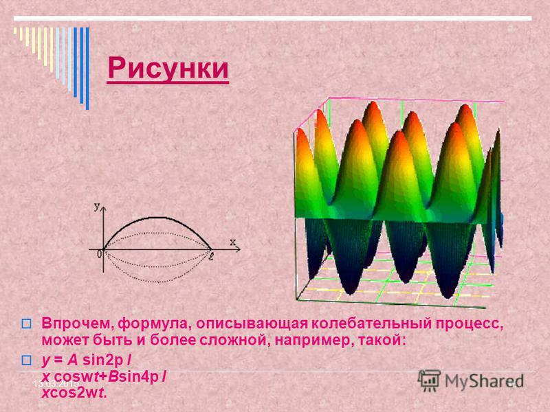 15 13.03.2015 Рисунки Впрочем, формула, описывающая колебательный процесс, может быть и более сложной, например, такой: y = A sin2p l x coswt+Bsin4p l xcos2wt.