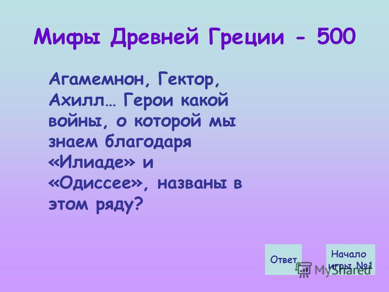Мифы Древней Греции - 500 Ответ Начало игры 1 Агамемнон, Гектор, Ахилл… Герои какой войны, о которой мы знаем благодаря «Илиаде» и «Одиссее», названы в этом ряду?