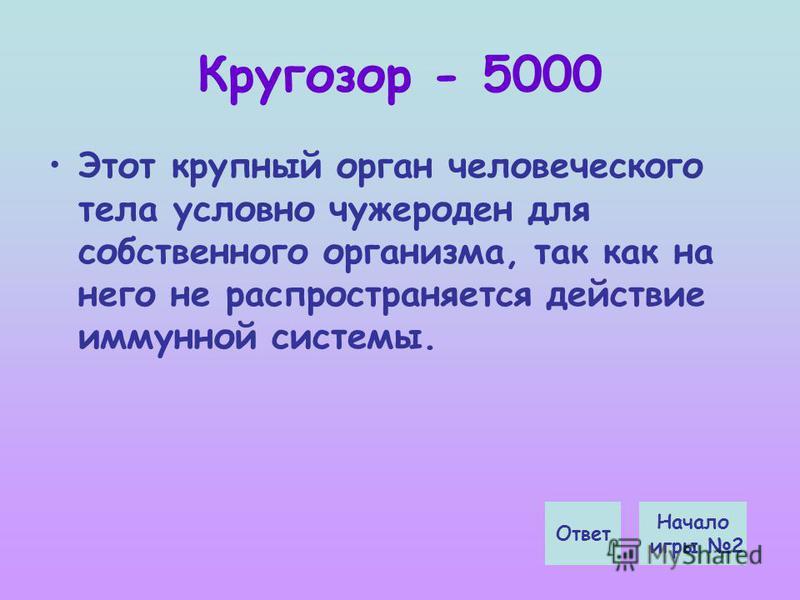 Кругозор - 5000 Этот крупный орган человеческого тела условно чужероден для собственного организма, так как на него не распространяется действие иммунной системы. Начало игры 2 Ответ