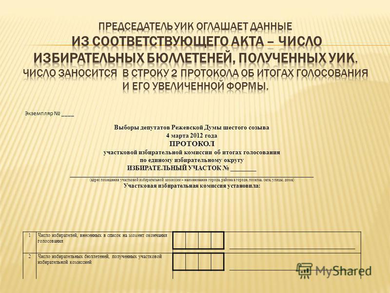 Экземпляр ____ Выборы депутатов Режевской Думы шестого созыва 4 марта 2012 года ПРОТОКОЛ участковой избирательной комиссии об итогах голосования по единому избирательному округу ИЗБИРАТЕЛЬНЫЙ УЧАСТОК ________ _________________________________________