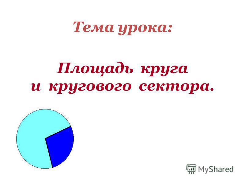 Площадь круга и кругового сектора. Тема урока: