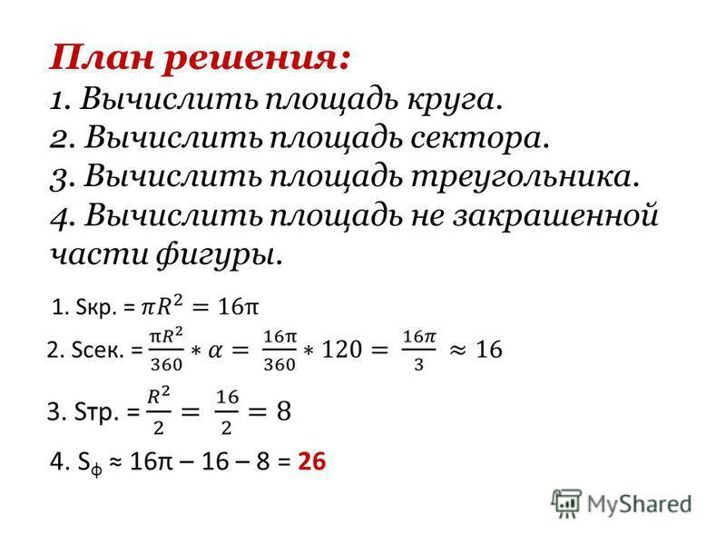 План решения: 1. Вычислить площадь круга. 2. Вычислить площадь сектора. 3. Вычислить площадь треугольника. 4. Вычислить площадь не закрашенной части фигуры. 4. S ф 16π – 16 – 8 = 26