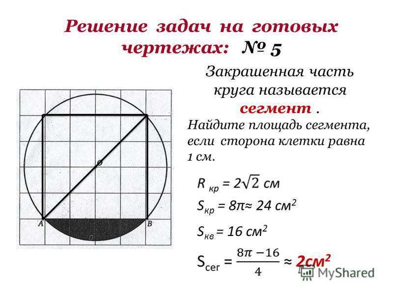 Решение задач на готовых чертежах: 5 Закрашенная часть круга называется сегмент. Найдите площадь сегмента, если сторона клетки равна 1 см. S кр = 8π 24 см 2 S кв = 16 см 2