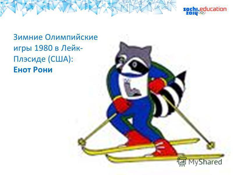 Зимние Олимпийские игры 1980 в Лейк- Плэсиде (США): Енот Рони