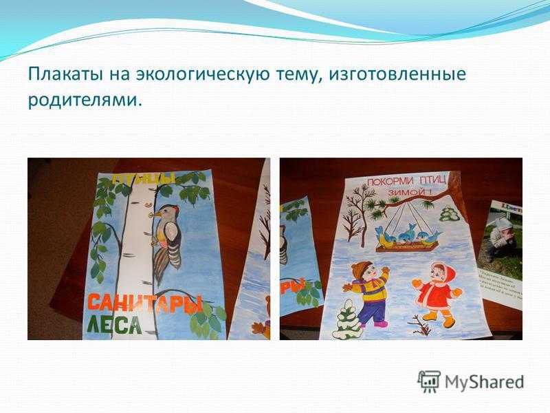 Плакаты на экологическую тему, изготовленные родителями.