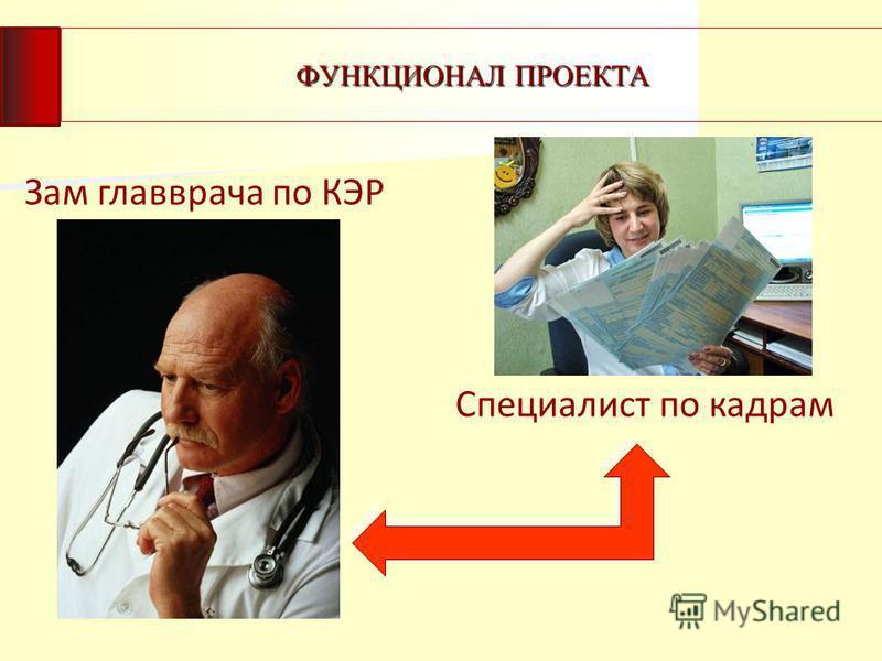 ФУНКЦИОНАЛ ПРОЕКТА Зам главврача по КЭР Специалист по кадрам