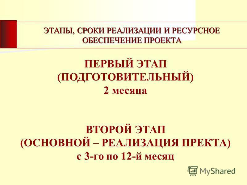 ЭТАПЫ, СРОКИ РЕАЛИЗАЦИИ И РЕСУРСНОЕ ОБЕСПЕЧЕНИЕ ПРОЕКТА ПЕРВЫЙ ЭТАП (ПОДГОТОВИТЕЛЬНЫЙ) 2 месяца ВТОРОЙ ЭТАП (ОСНОВНОЙ – РЕАЛИЗАЦИЯ ПРЕКТА) с 3-го по 12-й месяц