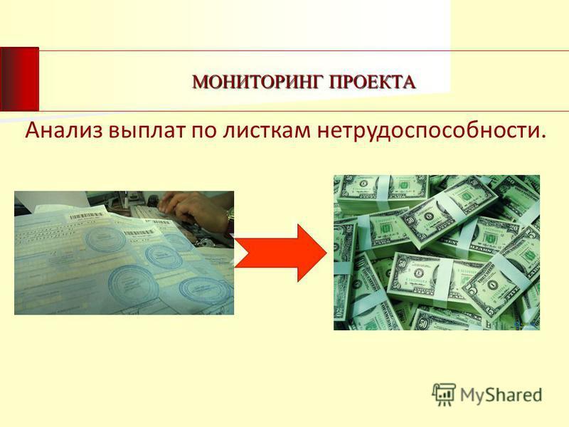 МОНИТОРИНГ ПРОЕКТА Анализ выплат по листкам нетрудоспособности.