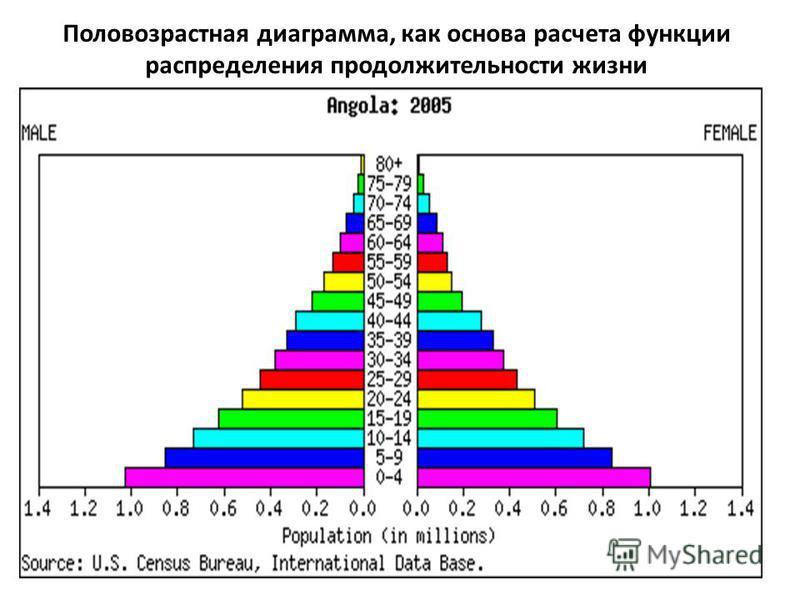 Половозрастная диаграмма, как основа расчета функции распределения продолжительности жизни