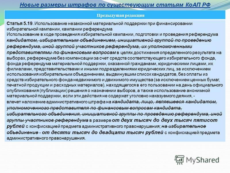 Новые размеры штрафов по существующим статьям КоАП РФ Предыдущая редакция Статья 5.19. Использование незаконной материальной поддержки при финансировании избирательной кампании, кампании референдума Использование в ходе проведения избирательной кампа