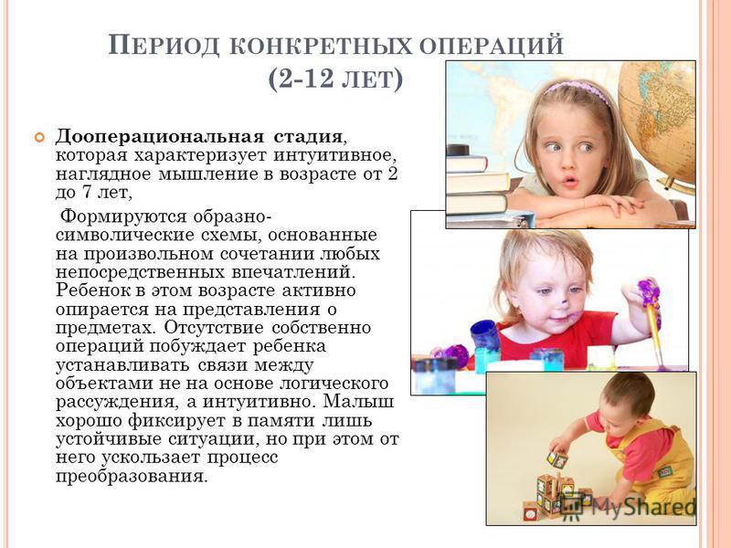 П ЕРИОД КОНКРЕТНЫХ ОПЕРАЦИЙ (2-12 ЛЕТ ) Дооперациональная стадия, которая характеризует интуитивное, наглядное мышление в возрасте от 2 до 7 лет, Формируются образно- символические схемы, основанные на произвольном сочетании любых непосредственных вп