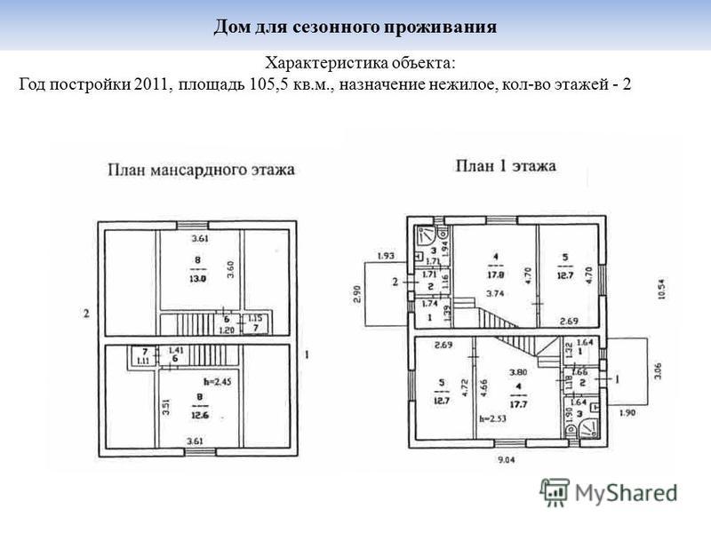 Дом для сезонного проживания Характеристика объекта: Год постройки 2011, площадь 105,5 кв.м., назначение нежилое, кол-во этажей - 2