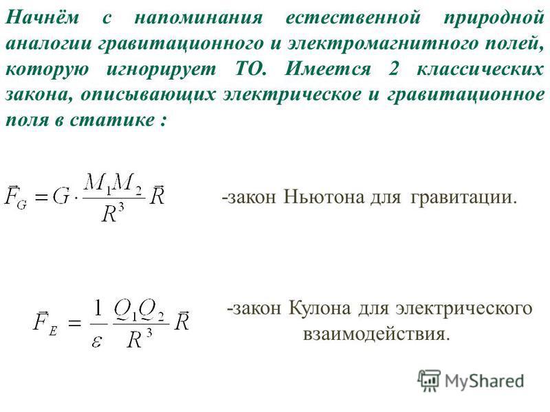 14 Начнём с напоминания естественной природной аналогии гравитационного и электромагнитного полей, которую игнорирует ТО. Имеется 2 классических закона, описывающих электрическое и гравитационное поля в статике : -закон Ньютона для гравитации. -закон