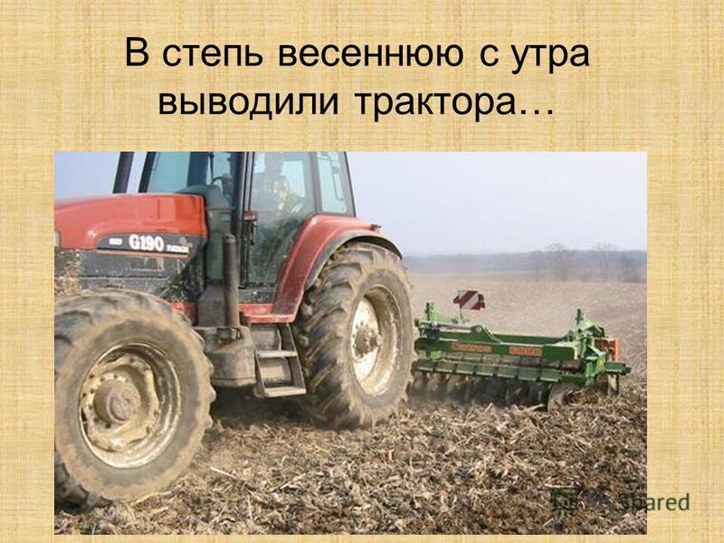 В степь весеннюю с утра выводили трактора…