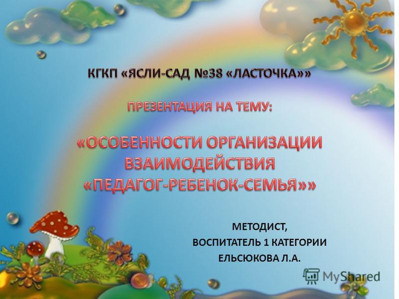 МЕТОДИСТ, ВОСПИТАТЕЛЬ 1 КАТЕГОРИИ ЕЛЬСЮКОВА Л.А.