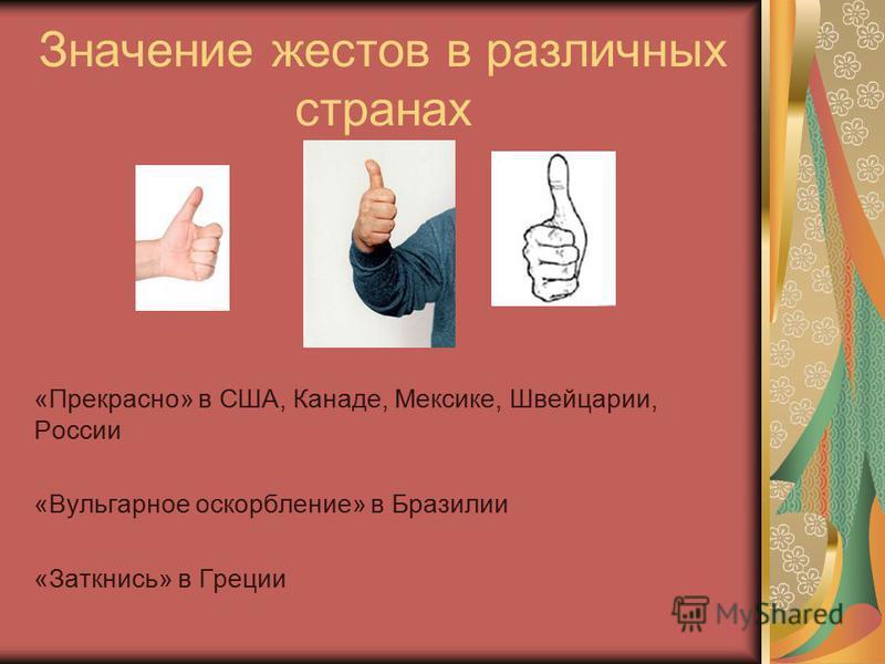 Значение жестов в различных странах «Прекрасно» в США, Канаде, Мексике, Швейцарии, России «Вульгарное оскорбление» в Бразилии «Заткнись» в Греции
