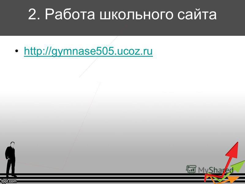 2. Работа школьного сайта http://gymnase505.ucoz.ru