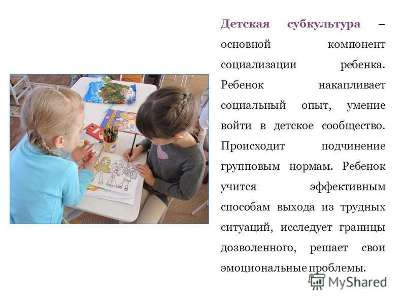 Детская субкультура – основной компонент социализации ребенка. Ребенок накапливает социальный опыт, умение войти в детское сообщество. Происходит подчинение групповым нормам. Ребенок учится эффективным способам выхода из трудных ситуаций, исследует г