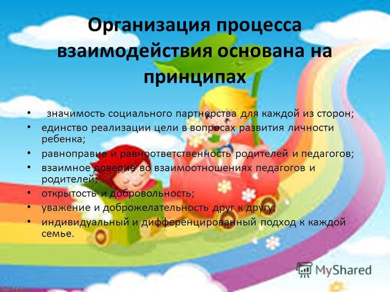 Организация процесса взаимодействия основана на принципах значимость социального партнерства для каждой из сторон; единство реализации цели в вопросах развития личности ребенка; равноправие и равноответственность родителей и педагогов; взаимное довер