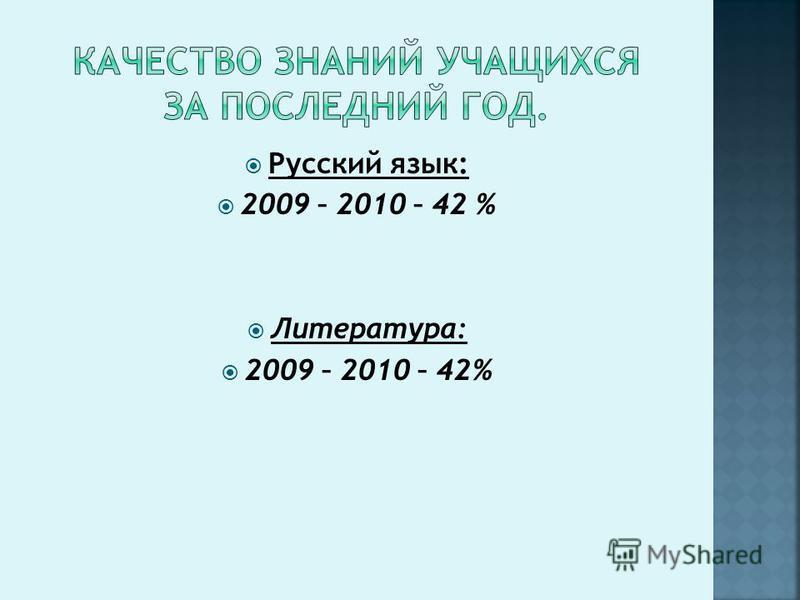 Русский язык: 2009 – 2010 – 42 % Литература: 2009 – 2010 – 42%