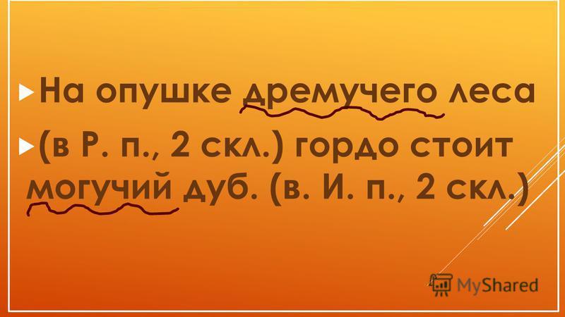 На опушке дремучего леса (в Р. п., 2 скл.) гордо стоит могучий дуб. (в. И. п., 2 скл.)