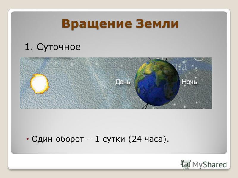 Вращение Земли 1. Суточное Один оборот – 1 сутки (24 часа).