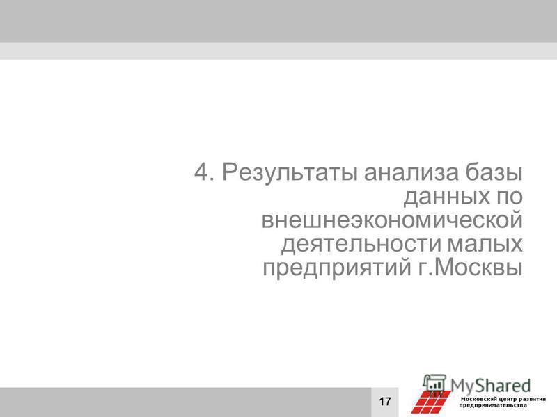 17 4. Результаты анализа базы данных по внешнеэкономической деятельности малых предприятий г.Москвы