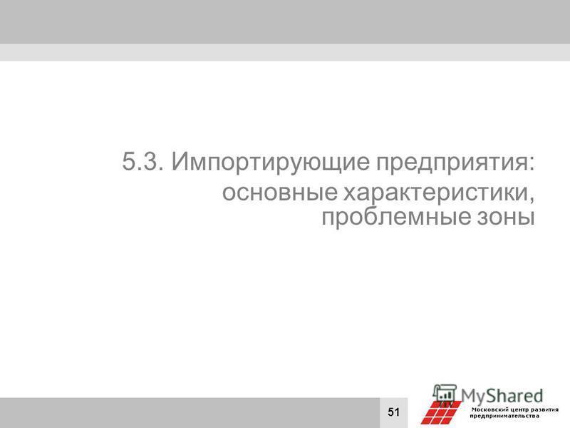 51 5.3. Импортирующие предприятия: основные характеристики, проблемные зоны