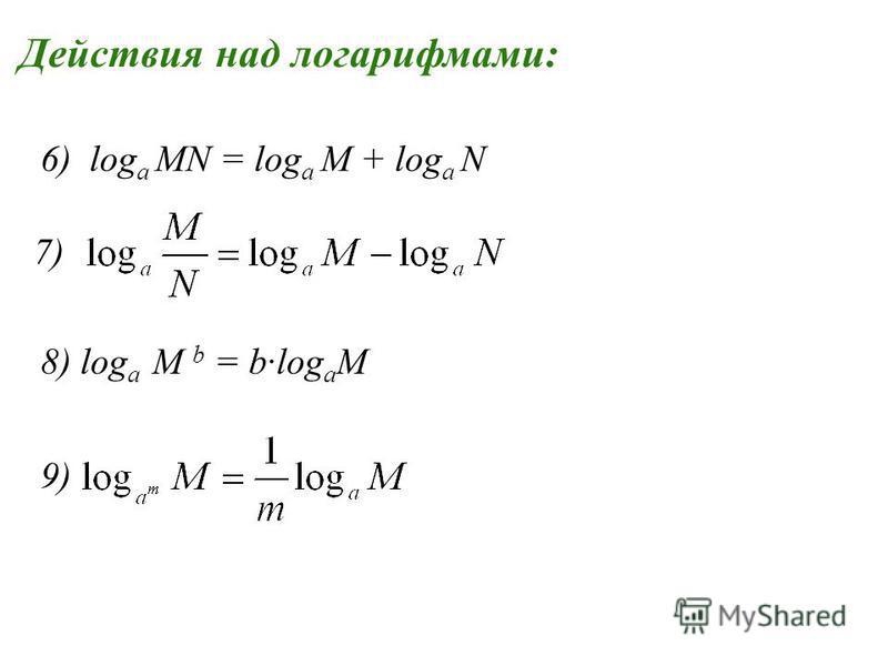 Действия над логарифмами: 7) 6) log a MN = log a M + log a N 8) log a M b = blog a M 9)