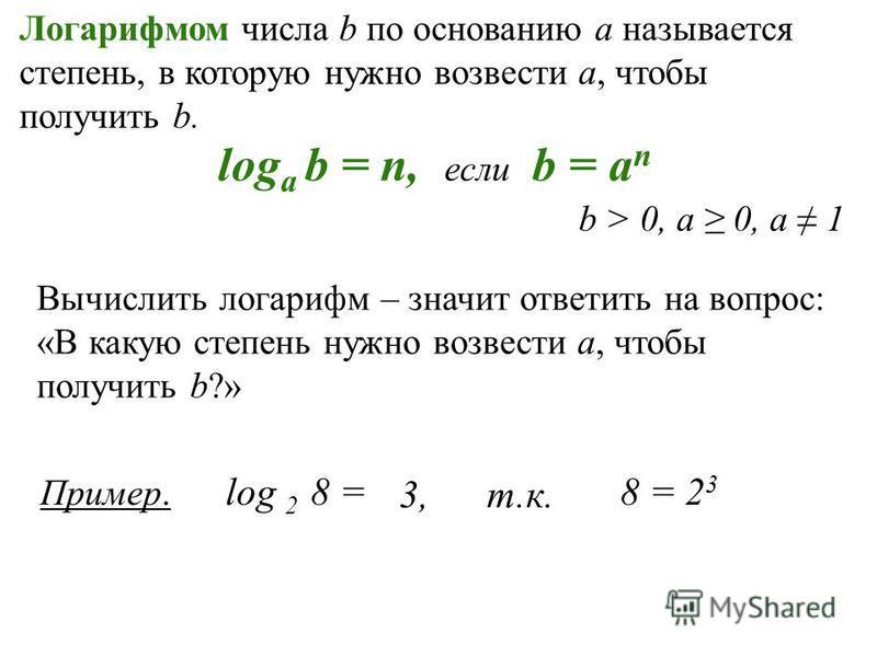 Логарифмом числа b по основанию а называется степень, в которую нужно возвести а, чтобы получить b. log a b = n, если b = a n b > 0, a 0, a 1 Вычислить логарифм – значит ответить на вопрос: «В какую степень нужно возвести а, чтобы получить b?» Пример