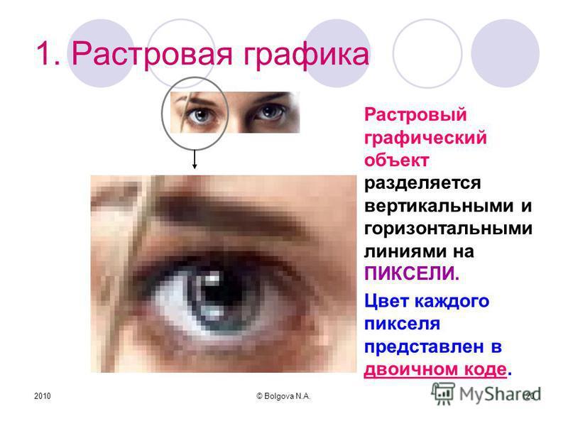 2010© Bolgova N.A.20 1. Растровая графика Растровый графический объект разделяется вертикальными и горизонтальными линиями на ПИКСЕЛИ. Цвет каждого пикселя представлен в двоичном коде.