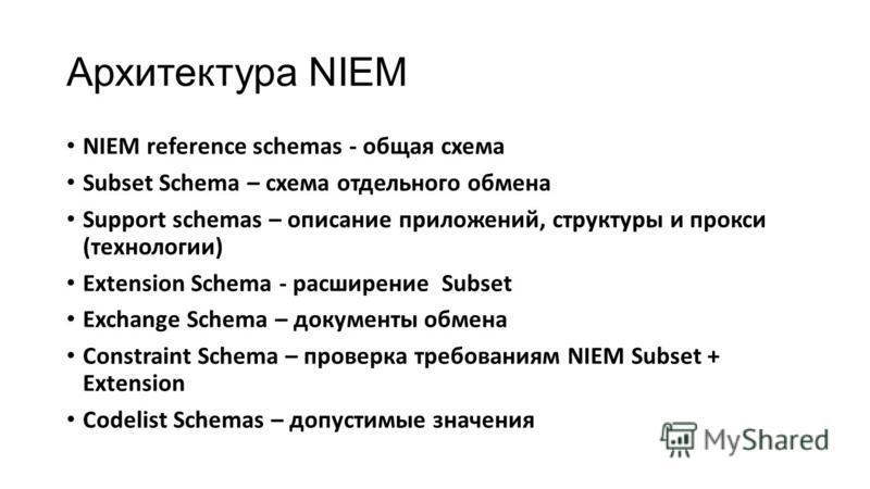 Архитектура NIEM NIEM reference schemas - общая схема Subset Schema – схема отдельного обмена Support schemas – описание приложений, структуры и прокси (технологии) Extension Schema - расширение Subset Exchange Schema – документы обмена Constraint Sc