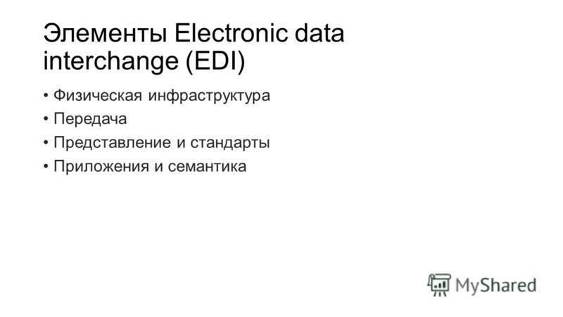 Элементы Electronic data interchange (EDI) Физическая инфраструктура Передача Представление и стандарты Приложения и семантика