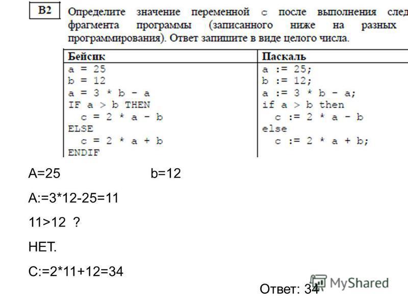 A=25 b=12 A:=3*12-25=11 11>12 ? НЕТ. С:=2*11+12=34 Ответ: 34