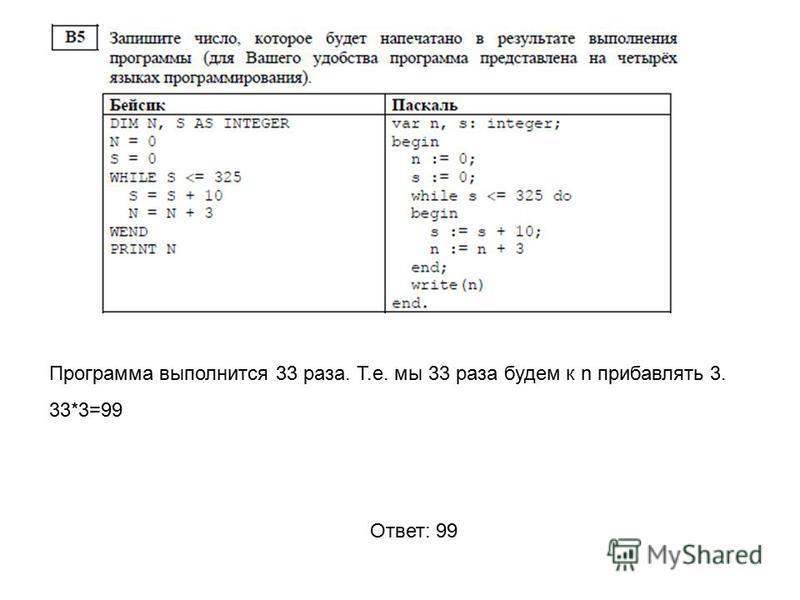 Программа выполнится 33 раза. Т.е. мы 33 раза будем к n прибавлять 3. 33*3=99 Ответ: 99