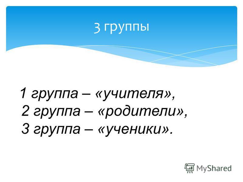 3 группы 1 группа – «учителя», 2 группа – «родители», 3 группа – «ученики».