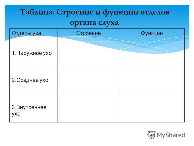 Таблица. Строение и функции отделов органа слуха Отделы уха СтроениеФункции 1. Наружное ухо 2. Среднее ухо 3. Внутреннее ухо