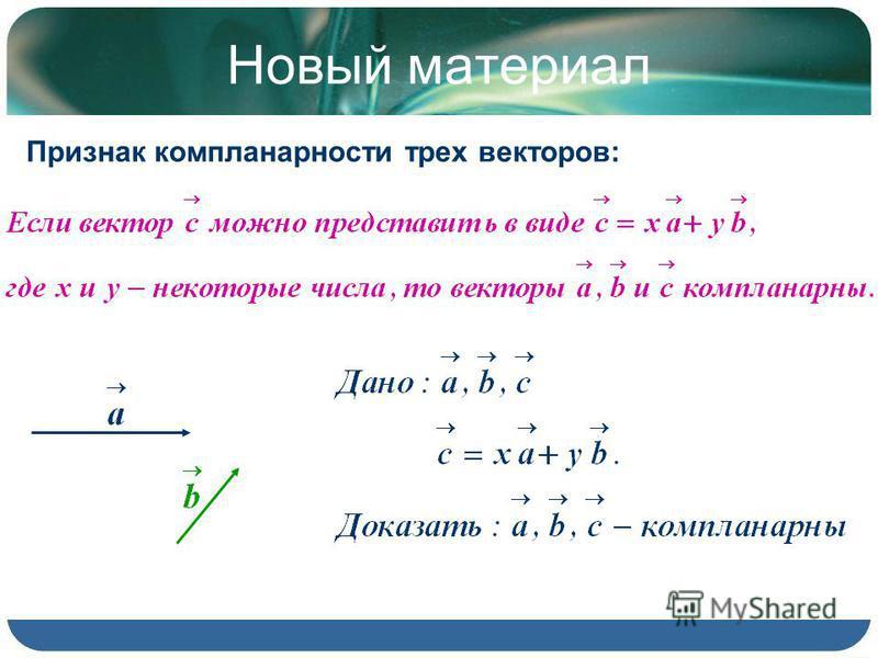 Новый материал Признак компланарности трех векторов: