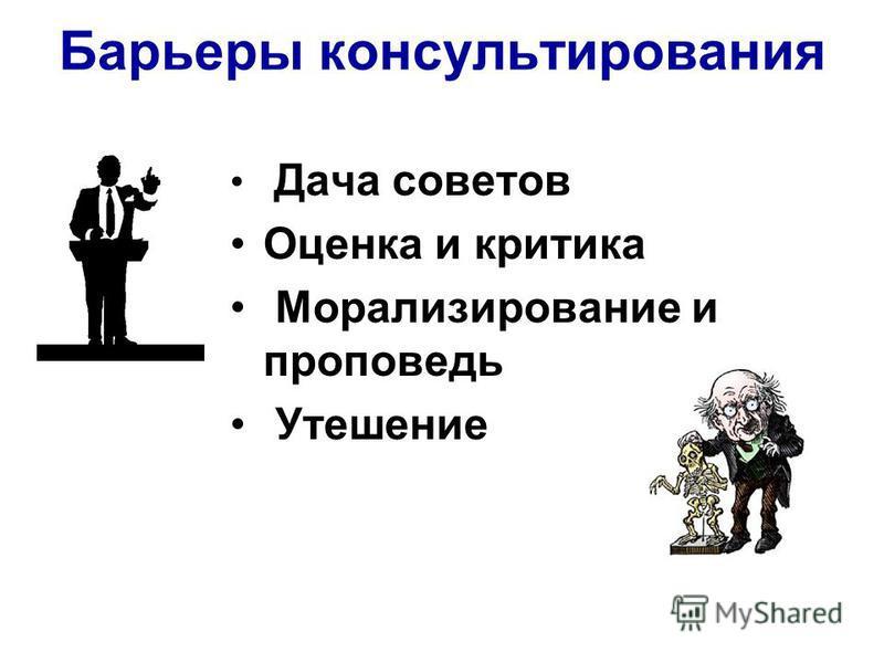 Барьеры консультирования Дача советов Оценка и критика Морализирование и проповедь Утешение